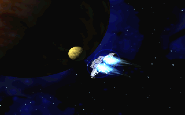 BioForge Windows Ship carrying the player is heading for the planet's moon