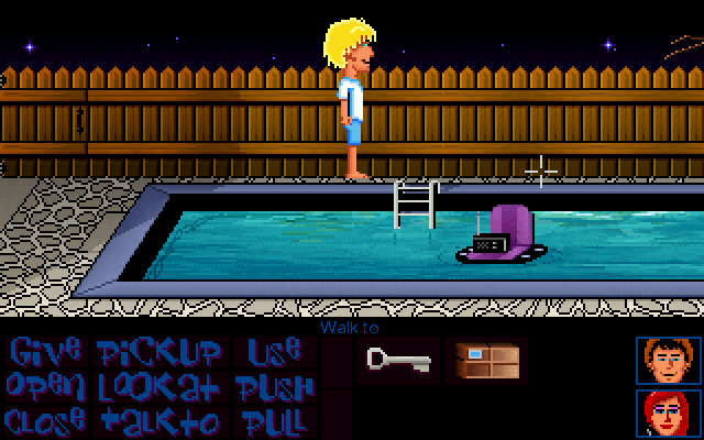 Maniac Mansion Deluxe Windows The pool looks much better now. Btw, a jar of radioactive water and a jar of tap water look different now, so there's no risk of forgetting if the stuff in your jar is safe to use.