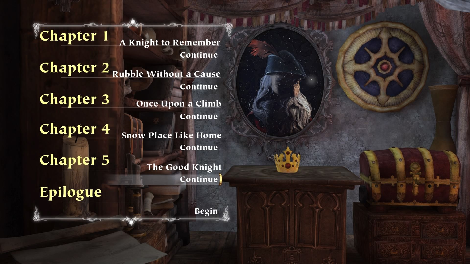 King's Quest: Chapter V - The Good Knight PlayStation 4 Chapter 5 select screen