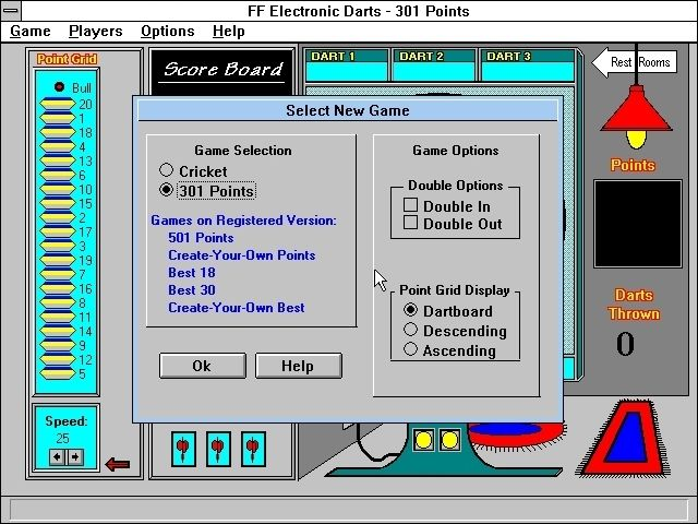 Financial Freedom Electronic Darts Windows 3.x Selecting the game to play