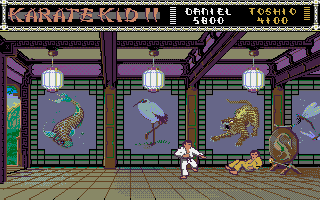 The Karate Kid: Part II - The Computer Game Amiga Toshio is knocked down.