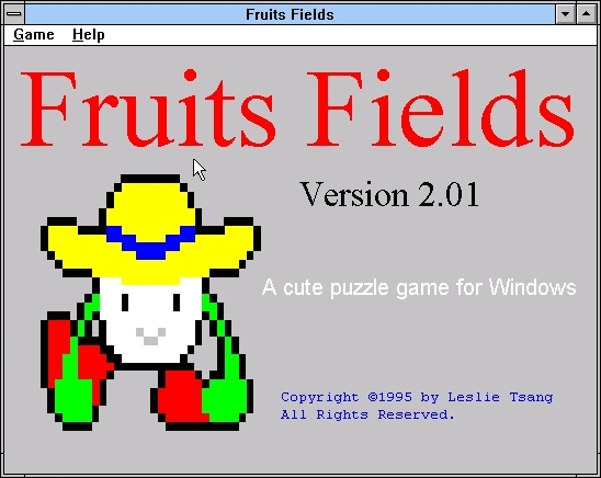 Fruits Fields Windows 3.x The title screen<br><br>Version 2.01