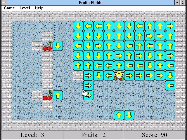 Fruits Fields Windows 3.x Level 3: So much harder than Level 1!<br><br>Version 2.01