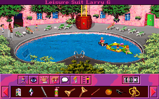 Leisure Suit Larry 6: Shape Up or Slip Out! DOS There is a floating bar in the pool