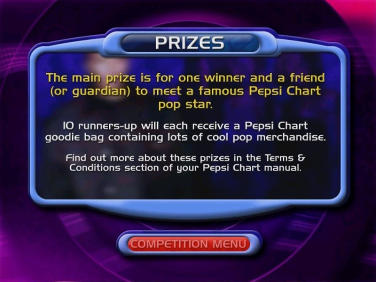 Pepsi Chart Music Quiz: Play The World's First Pop Music Quiz On DVD DVD Player The Competition: These were the prizes