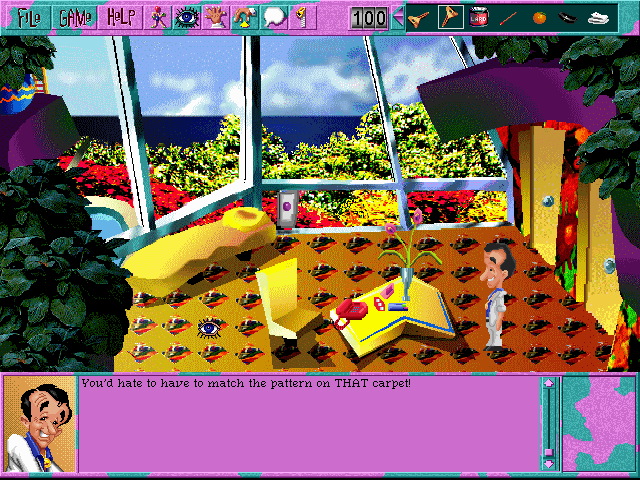 Leisure Suit Larry 6: Shape Up or Slip Out! Windows 3.x This is your room at the resort (CD-ROM version)