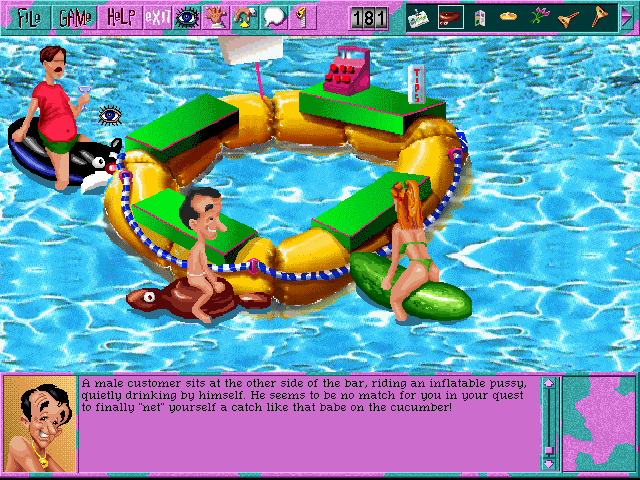 Leisure Suit Larry 6: Shape Up or Slip Out! Windows 3.x Is that Ken Williams at the floating bar? (CD-ROM version)