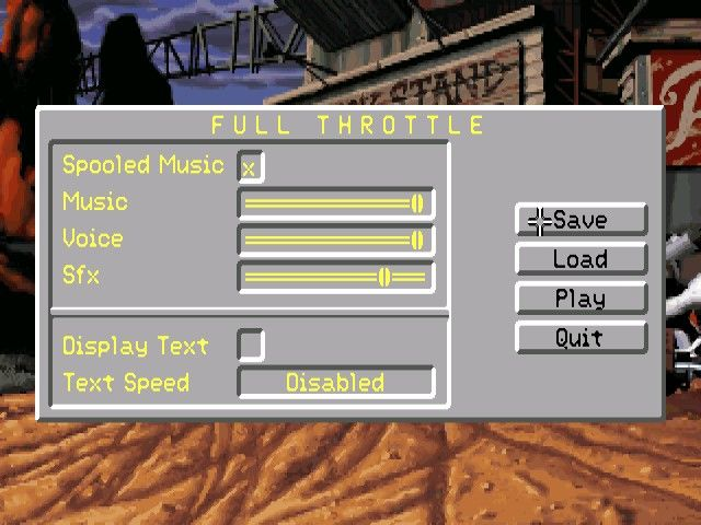 Full Throttle Windows Ingame menu system works with a familiar F5 click