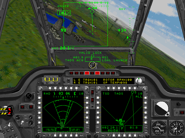 Jane's Combat Simulations: AH-64D Longbow DOS in action LOAL mode