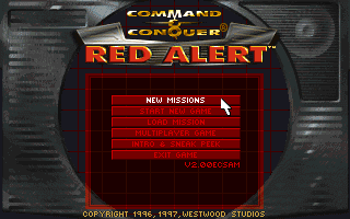 Command & Conquer: Red Alert - The Aftermath DOS New main menu