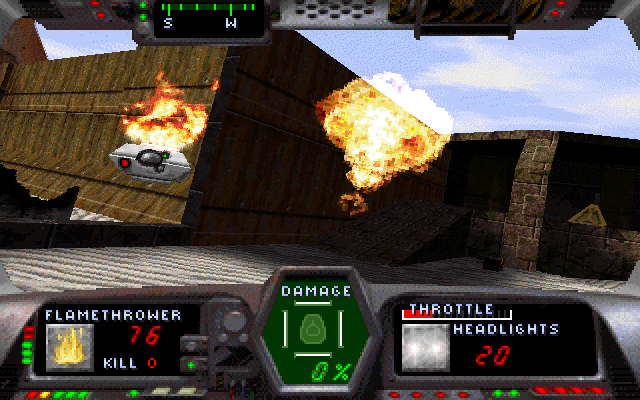 Gunmetal DOS Using a flame-thrower against a hover bot.