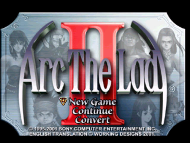 Arc the Lad II PlayStation Title screen