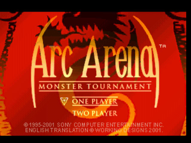 Arc the Lad Collection PlayStation Arc Arena: Title screen