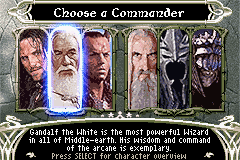 The Lord of the Rings: The Third Age Game Boy Advance Choose your commander...