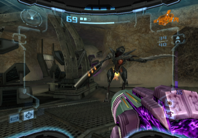 Metroid Prime 2: Echoes GameCube Fighting a space pirate...