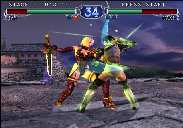 SoulCalibur II GameCube Ivy and Taki fighting