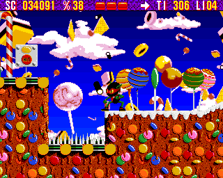 Zool Amiga Sweet World - Switch on the left is restart point (AGA version)