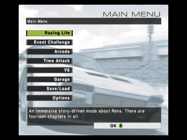 R:Racing Evolution GameCube The main menu