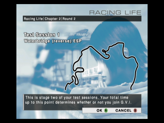 R:Racing Evolution GameCube Racing Life: first you have to run some training races