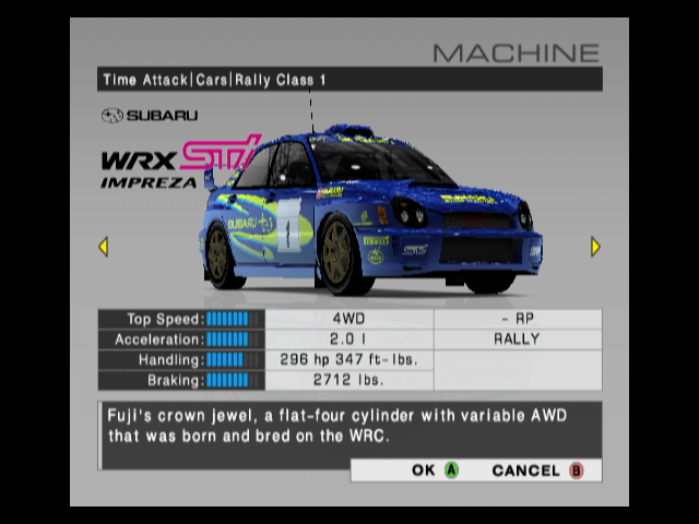 R:Racing Evolution GameCube Car details