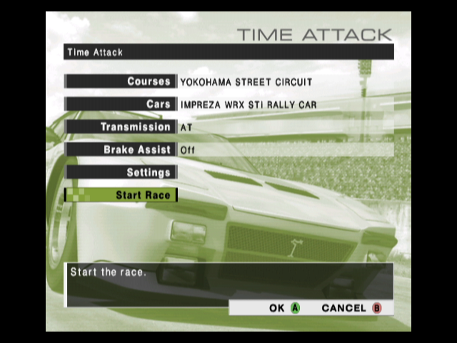R:Racing Evolution GameCube The time attack menu