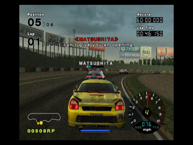 R:Racing Evolution GameCube Note the pressure meter above the car in front of you