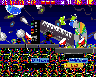 Zool Amiga Music World - Looks like an ambush by walking drums (AGA version)
