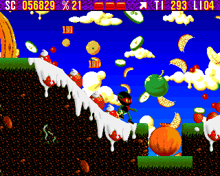 Zool Amiga Fruit World - Zool can slide down from high places (AGA version)