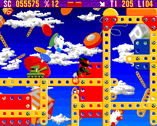 Zool Amiga Toy World - Running away from tank's intense fire (AGA version)