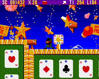 Zool Amiga Fairground World - Zool, evil hammers and restart point (AGA version)
