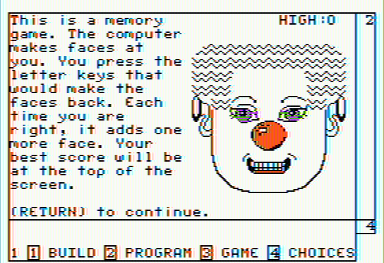 FaceMaker Apple II Memory Game Instructions