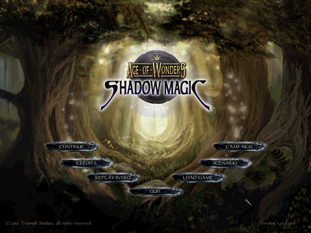 Age of Wonders: Shadow Magic Windows Main Menu