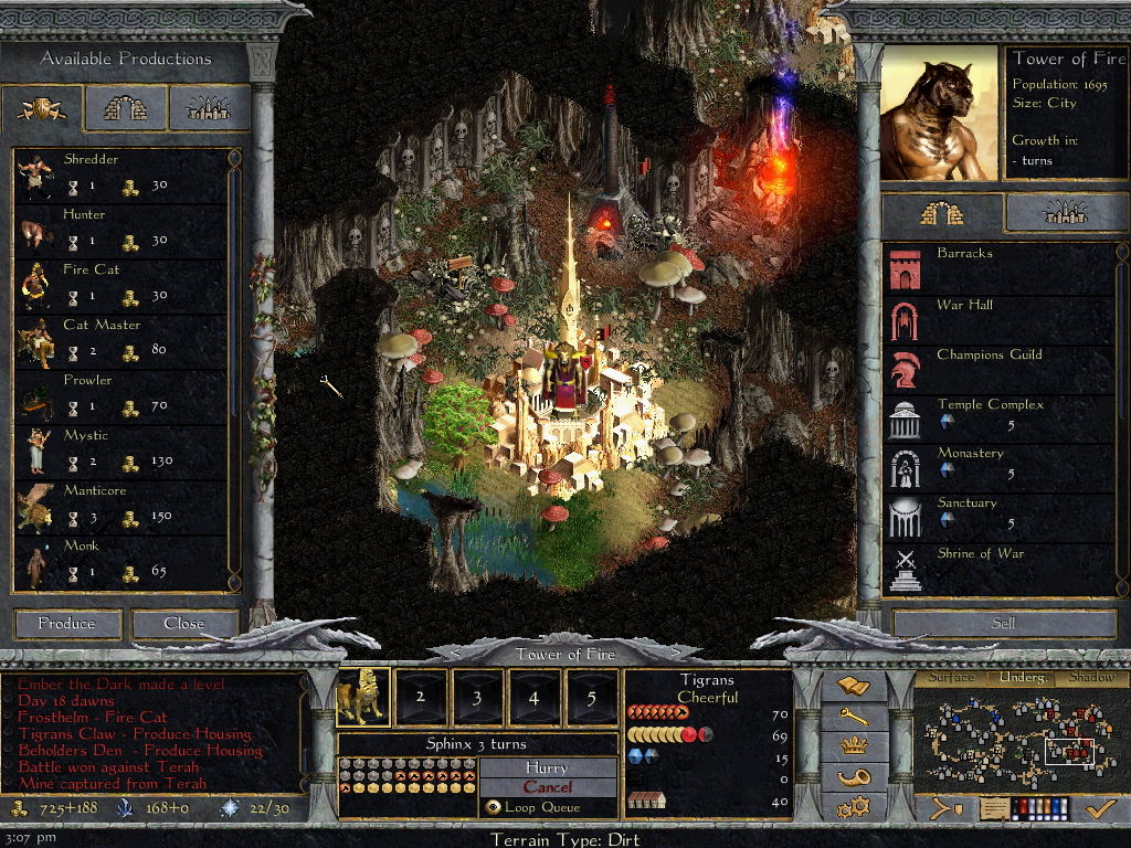 Age of Wonders: Shadow Magic Windows City management in the underground