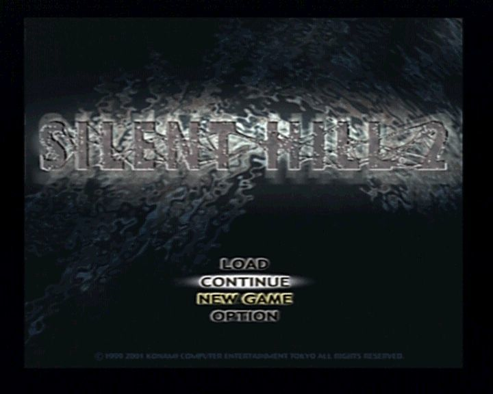 Silent Hill 2 PlayStation 2 Main Menu (after game was finished once)