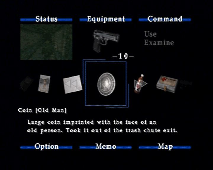 Silent Hill 2 PlayStation 2 Browsing through your inventory. This is also the screen which shows your health, where you can change ingame options, look at the map,...