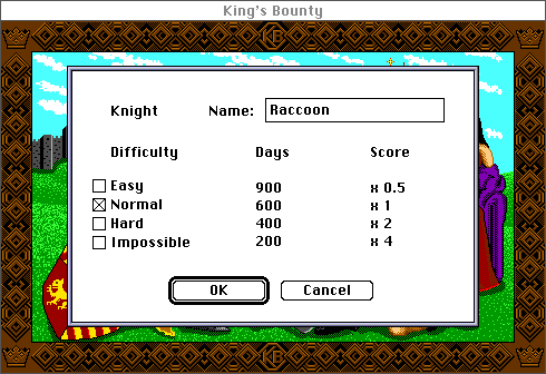 King's Bounty Macintosh Creating a new character and picking difficulty (Color)