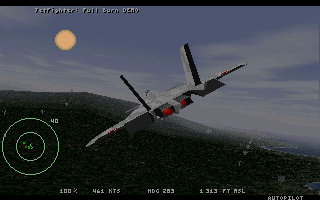 JetFighter: Full Burn DOS Chase plane view (VGA, demo version).
