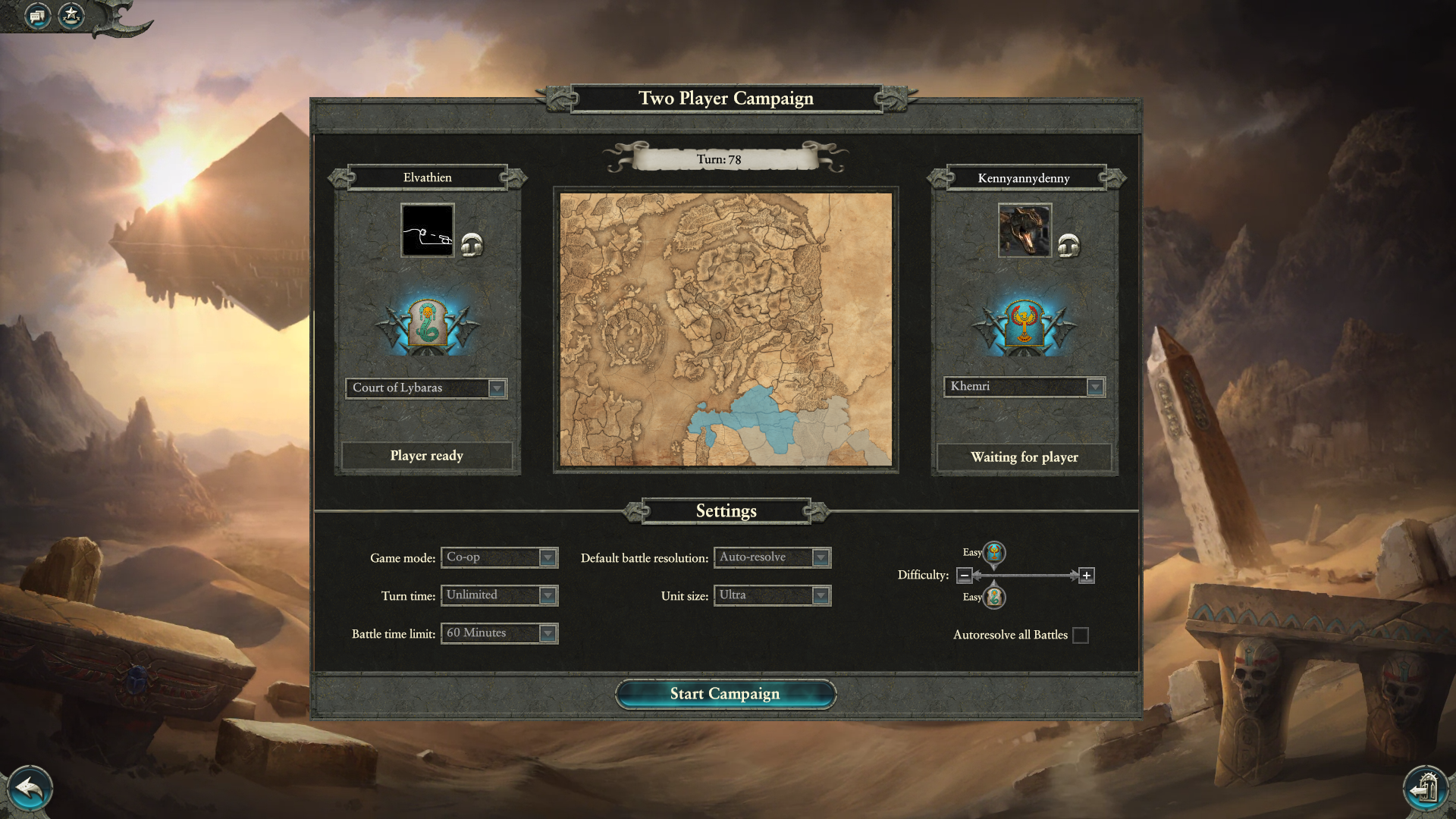 Total War: Warhammer II - Rise of the Tomb Kings Windows Pre-launch screen with both players playing a Tomb King faction