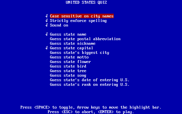 United States Quiz Screenshots for DOS - MobyGames