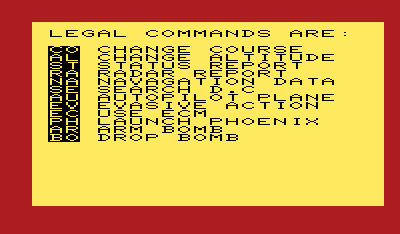 B-1 Nuclear Bomber VIC-20 List of game commands.