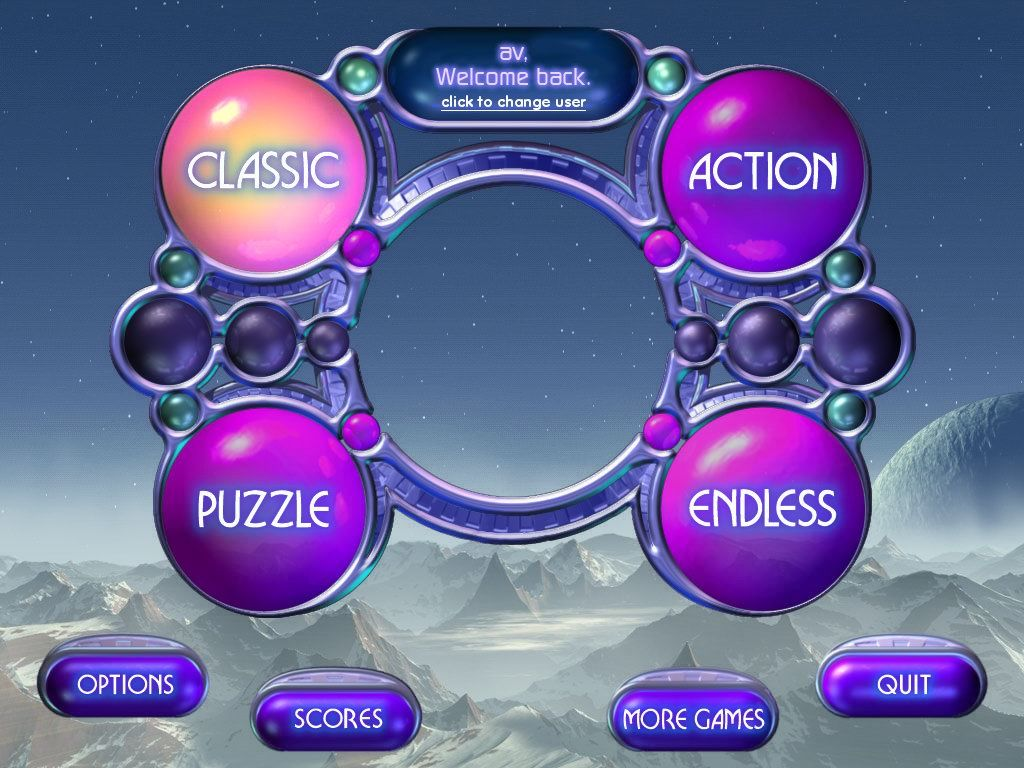 Bejeweled 2: Deluxe Windows Main menu