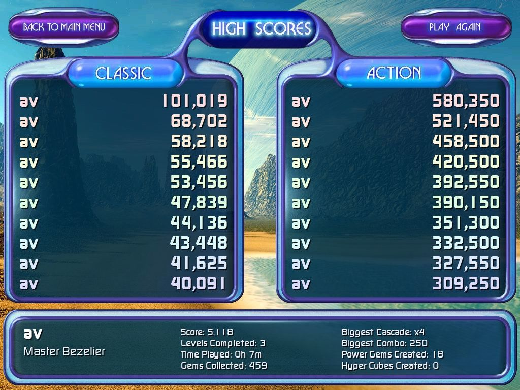 Bejeweled 2: Deluxe Windows High scores and user stats