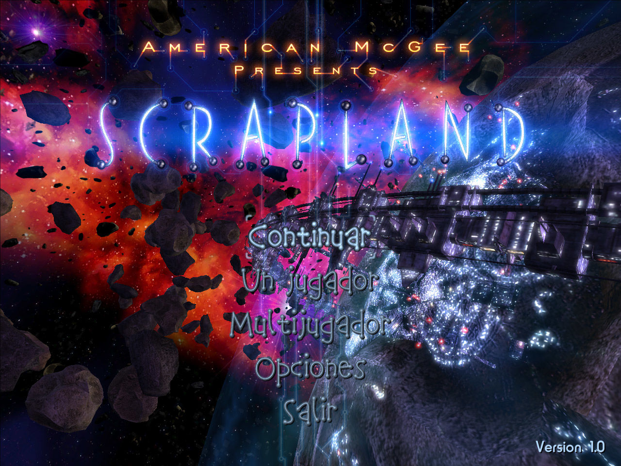 American McGee presents SCRAPLAND Windows Main menu