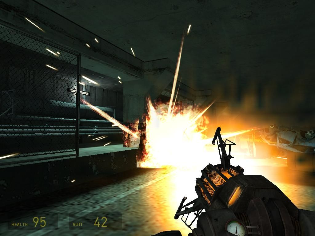 Half-Life 2 Windows Firing explosive barrel with the gravity-gun at your enemies.