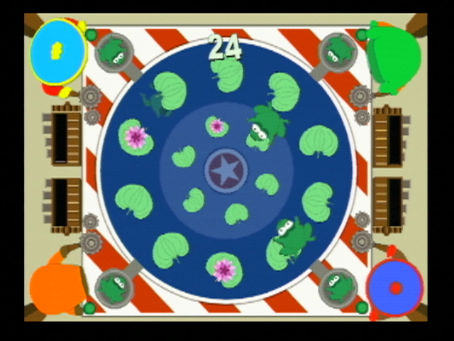South Park: Chef's Luv Shack Nintendo 64 Mini game: get the frogs onto the lily pads!