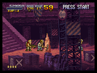 Metal Slug X PlayStation Inside the mine, the workers are digging for you.