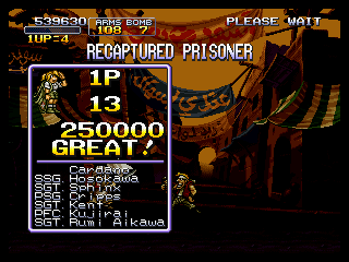 Metal Slug X PlayStation After the mission, here's the stats of the hostages you've rescued.