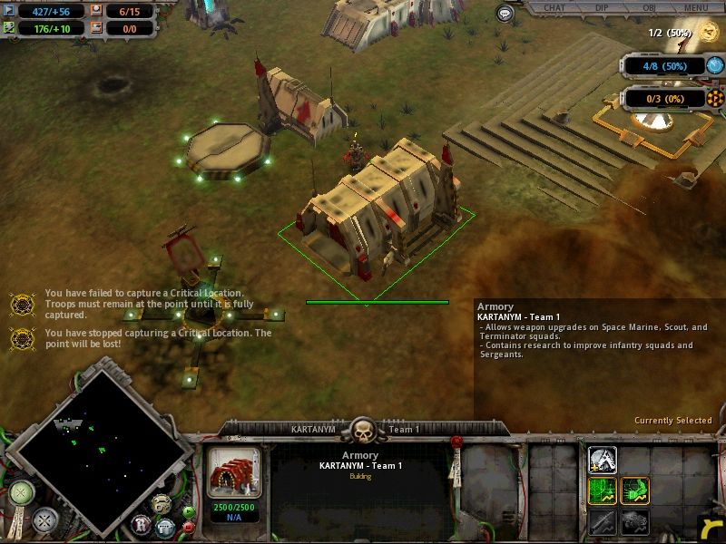 Warhammer 40,000: Dawn of War Windows Build an armoury to improve attack and defense