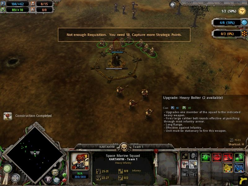 Warhammer 40,000: Dawn of War Windows the more strategic points you have under your control, the faster and higher your resources will become