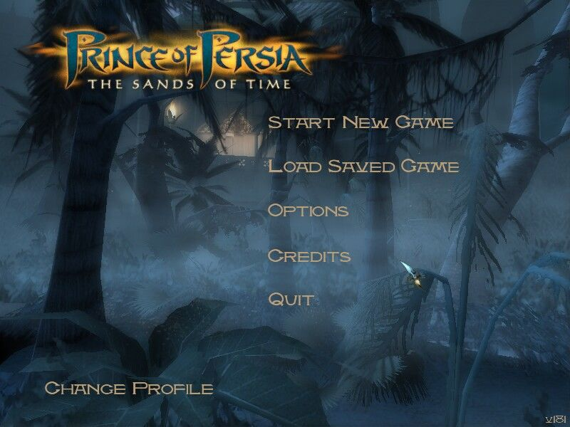 Prince of Persia: The Sands of Time Windows Main menu